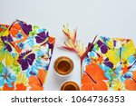 colorful flower shirts with... | Shutterstock . vector #1064736353
