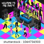 dj and party composition with... | Shutterstock .eps vector #1064736503