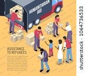 humanitarian aid van and... | Shutterstock .eps vector #1064736533