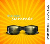 sunglasses with tropical island reflection. summer background | Shutterstock vector #106475627