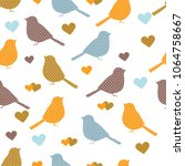 seamless pattern with bird ... | Shutterstock .eps vector #1064758667