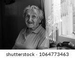 an elderly woman emotional says ... | Shutterstock . vector #1064773463