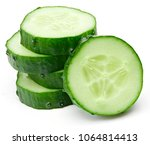 cucumber and slices isolated on ... | Shutterstock . vector #1064814413