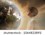 closeup portrait curious child... | Shutterstock . vector #1064823893