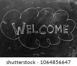 welcome handwritten on... | Shutterstock . vector #1064856647
