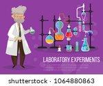 chemist man near glassware... | Shutterstock .eps vector #1064880863