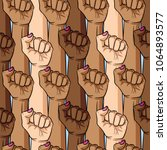 vector  pattern of woman's fist ... | Shutterstock .eps vector #1064893577