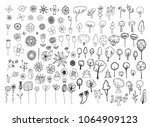 hand drawn trees and flowers | Shutterstock .eps vector #1064909123