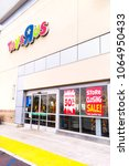 Small photo of Fullerton, California, USA - April 3, 2018: Toys R Us with closing sale signs at retail store in Fullerton, California. C. Toys R Us said in a U.S. Bankruptcy Court filing that it must liquidate.