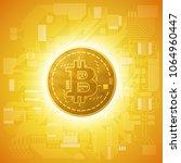 hud golden bitcoin. digital... | Shutterstock .eps vector #1064960447
