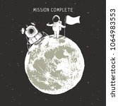 mission to moon was complete... | Shutterstock .eps vector #1064983553