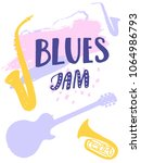 blues jam poster design with... | Shutterstock .eps vector #1064986793