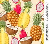 tropic fruits seamless | Shutterstock .eps vector #1065012593