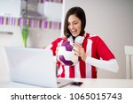 young beautiful happy girl in... | Shutterstock . vector #1065015743