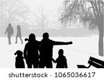 family silhouettes in nature. | Shutterstock .eps vector #1065036617
