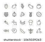 fruit set icon vector. outline...