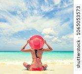 luxury travel woman relaxing... | Shutterstock . vector #1065053573