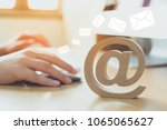 email marketing concept  hand... | Shutterstock . vector #1065065627