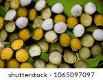 sweet banana and pumpkin  thai... | Shutterstock . vector #1065097097