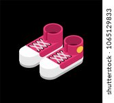 red sneakers isometric style.... | Shutterstock .eps vector #1065129833