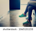 women waiting at the fitness | Shutterstock . vector #1065131153