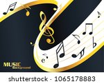 abstract gold music notes on... | Shutterstock .eps vector #1065178883