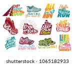 run lettering on running shoes... | Shutterstock .eps vector #1065182933