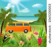 tropical paradise composition... | Shutterstock .eps vector #1065200003