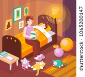 mother reading aloud bedtime... | Shutterstock .eps vector #1065200147