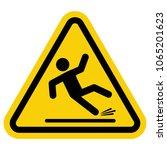 wet floor sign  yellow triangle ... | Shutterstock .eps vector #1065201623