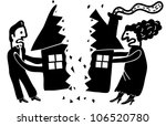 couple dividing their house - stock vector