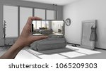augmented reality concept. hand ... | Shutterstock . vector #1065209303