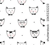 seamless colorful cat pattern... | Shutterstock .eps vector #1065232223