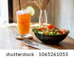 fruity punch in glass. | Shutterstock . vector #1065261053