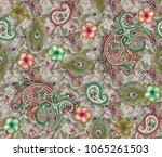 floral pattern with paisley | Shutterstock . vector #1065261503