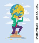 businessman is holding earth on ... | Shutterstock .eps vector #1065270857