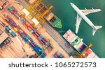 airspace of container ship and... | Shutterstock . vector #1065272573