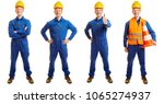 construction worker in a blue... | Shutterstock . vector #1065274937