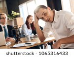 puzzled man makes decision... | Shutterstock . vector #1065316433