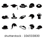 collection of various black hat - stock vector
