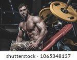 brutal sexy strong bodybuilder... | Shutterstock . vector #1065348137