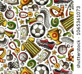 cartoon hand drawn soccer... | Shutterstock .eps vector #1065361073