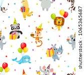 birthday party cartoon seamless ... | Shutterstock .eps vector #1065365687