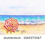 watercolor seascape painting... | Shutterstock . vector #1065373367