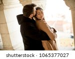 portrait of a young  loving and ... | Shutterstock . vector #1065377027