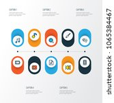 multimedia icons colored line... | Shutterstock .eps vector #1065384467