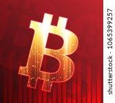 bitcoin sign on dark red... | Shutterstock .eps vector #1065399257