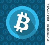 bitcoin round icon on blue... | Shutterstock .eps vector #1065399263