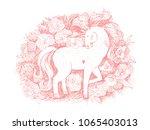 unicorn flower card. hand drawn ... | Shutterstock .eps vector #1065403013