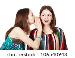 two happy young girlfriends... | Shutterstock . vector #106540943